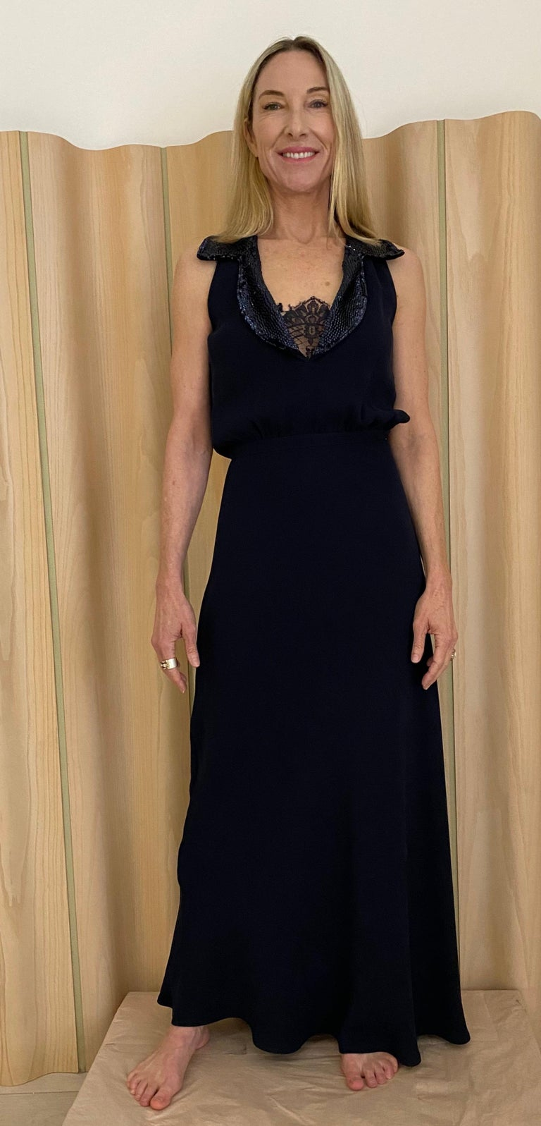 1990s Valentino Blue Crepe Gown  For Sale 2