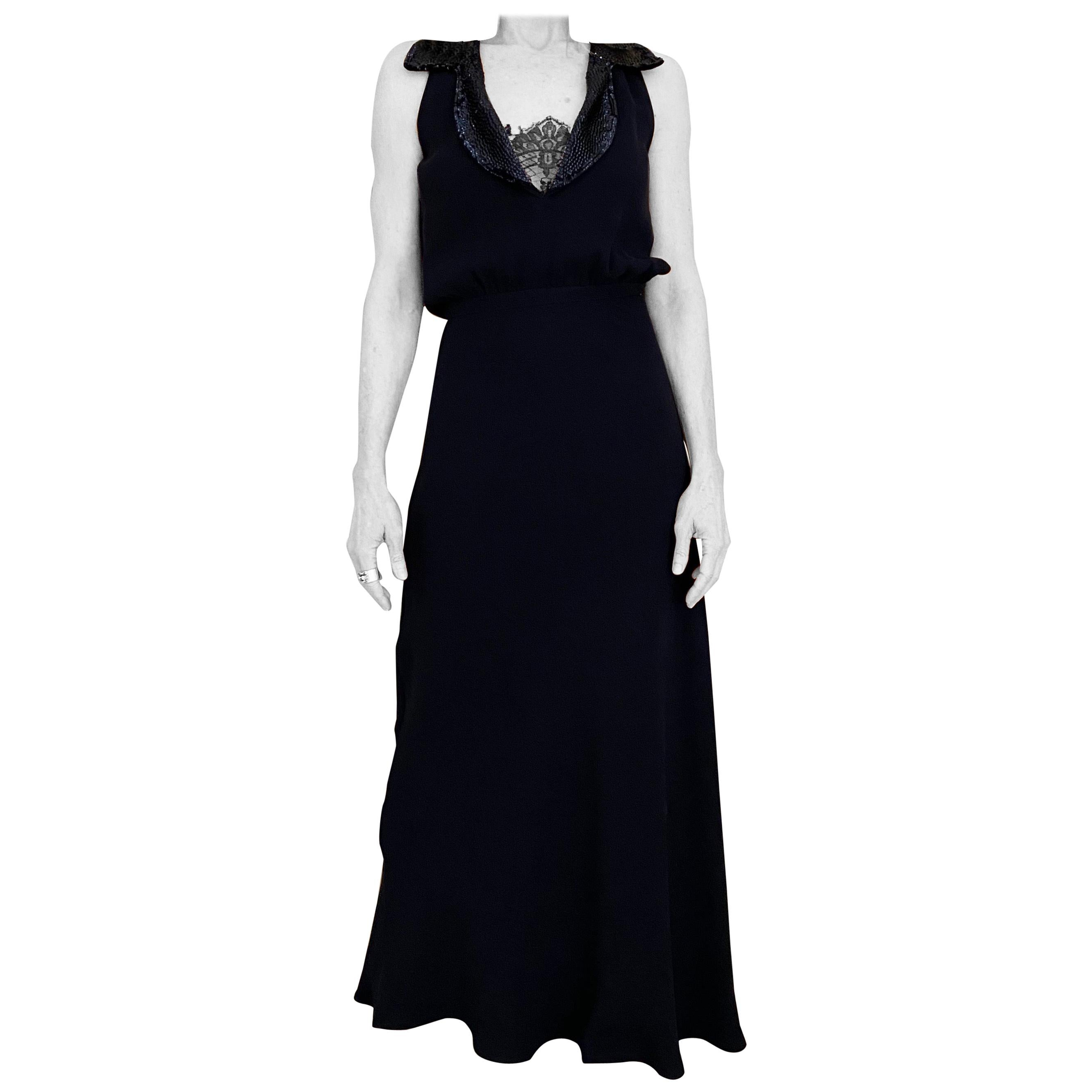 1990s Valentino Blue Crepe Gown