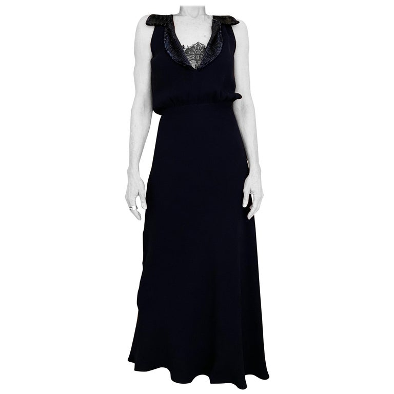 1990s Valentino Blue Crepe Gown  For Sale