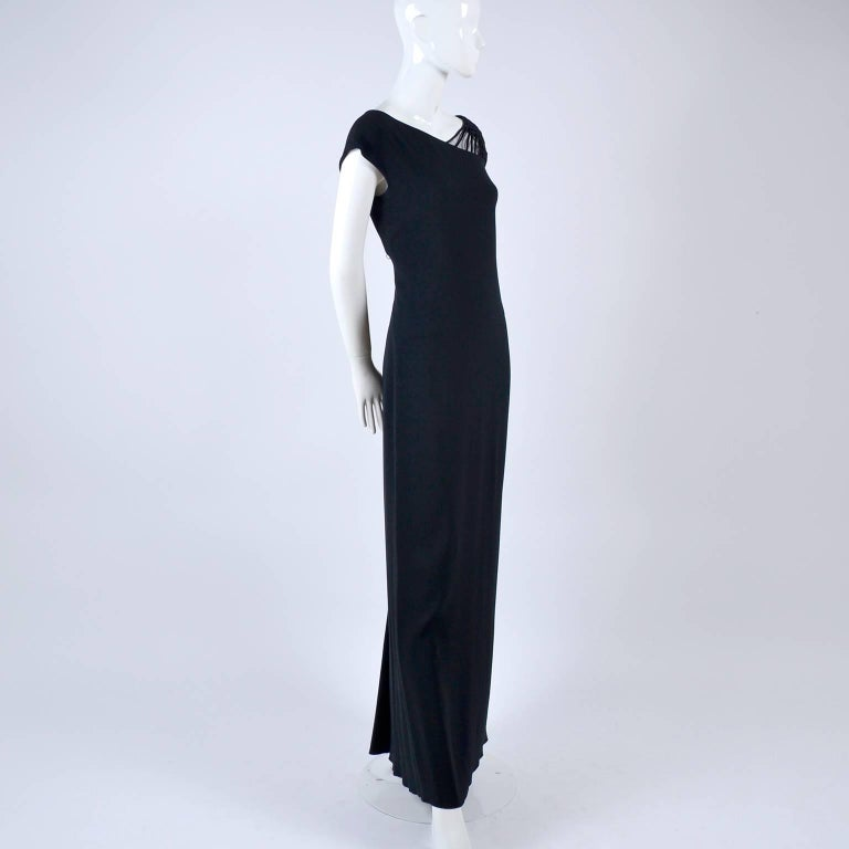 1990s Valentino Dress Black Crepe Evening Gown With Woven Shoulder Details For Sale 8