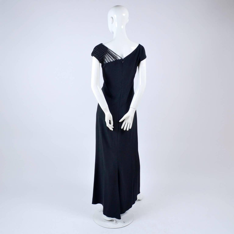 Women's 1990s Valentino Dress Black Crepe Evening Gown With Woven Shoulder Details For Sale