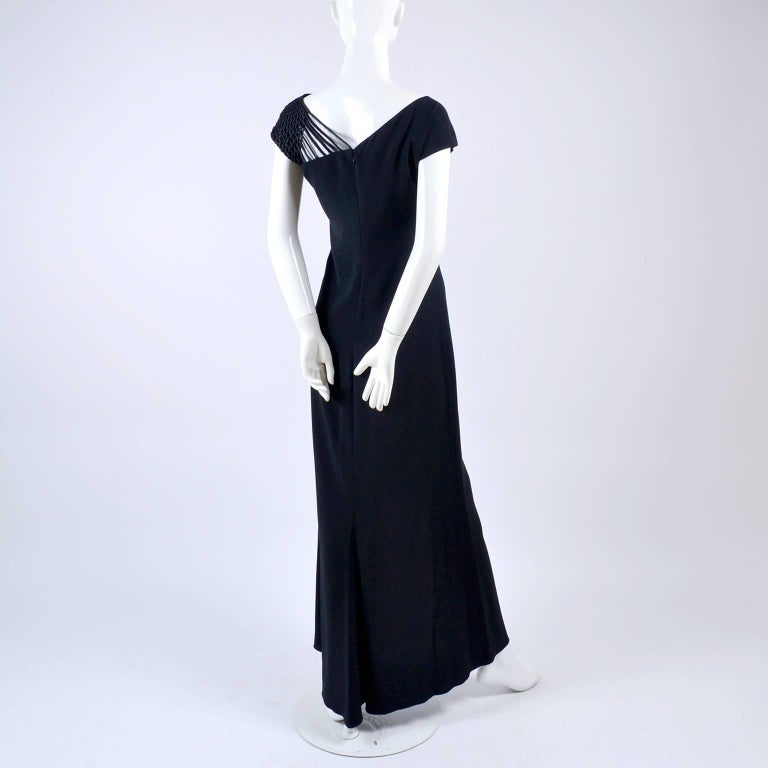 1990s Valentino Dress Black Crepe Evening Gown With Woven Shoulder Details For Sale 1