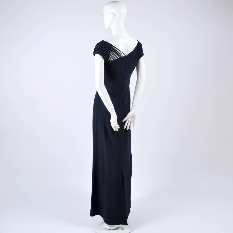 1990s Valentino Dress Black Crepe Evening Gown With Woven Shoulder Details For Sale 2