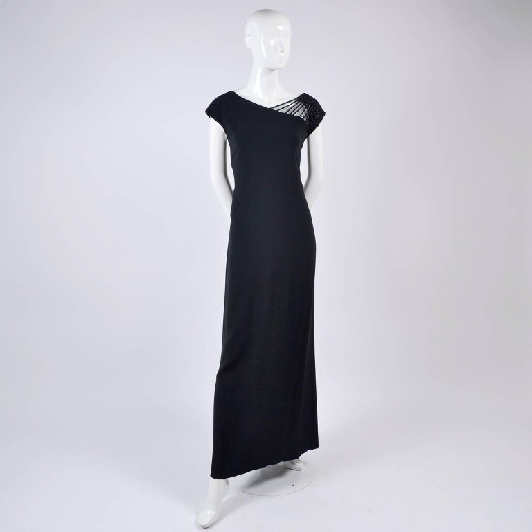 1990s Valentino Dress Black Crepe Evening Gown With Woven Shoulder Details For Sale 3
