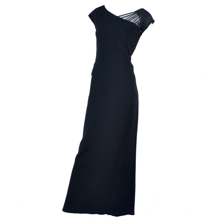 1990s Valentino Dress Black Crepe Evening Gown With Woven Shoulder Details For Sale
