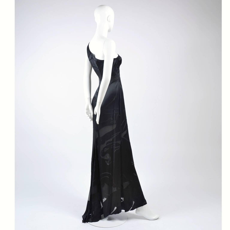Valentino Black Panther Burnout Silk Jacquard One Shoulder Dress, 1990s For Sale 6