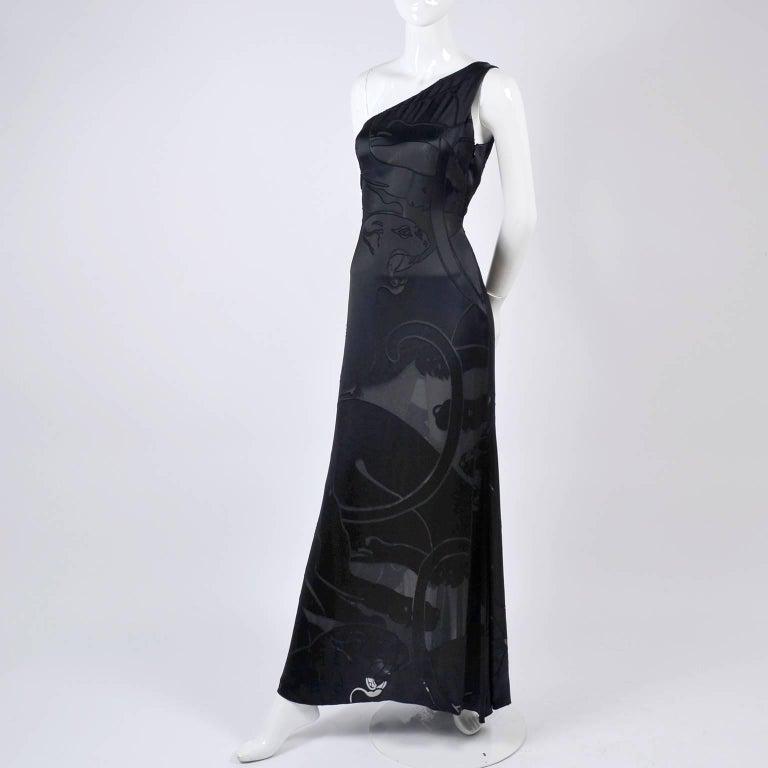 Valentino Black Panther Burnout Silk Jacquard One Shoulder Dress, 1990s For Sale 8