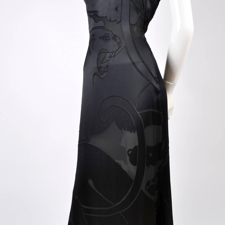Women's Valentino Black Panther Burnout Silk Jacquard One Shoulder Dress, 1990s For Sale