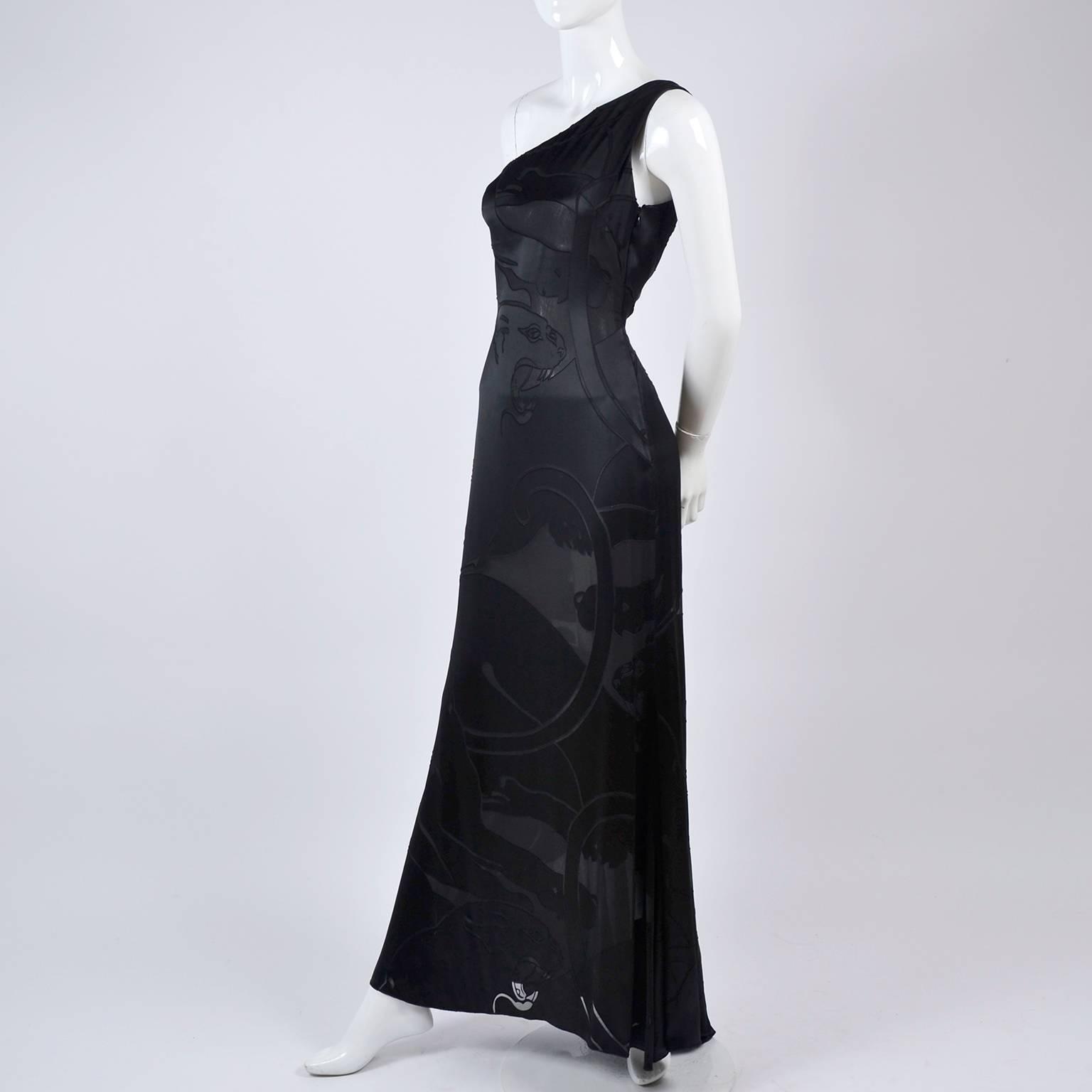 Valentino Black Panther Burnout Silk Jacquard One Shoulder Dress ...