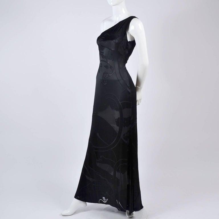 Valentino Black Panther Burnout Silk Jacquard One Shoulder Dress, 1990s For Sale 1