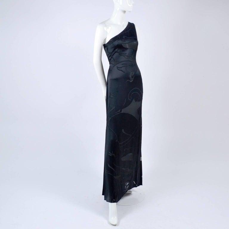Valentino Black Panther Burnout Silk Jacquard One Shoulder Dress, 1990s For Sale 3