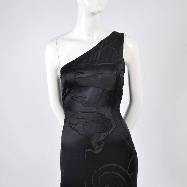 Valentino Black Panther Burnout Silk Jacquard One Shoulder Dress, 1990s For Sale 4