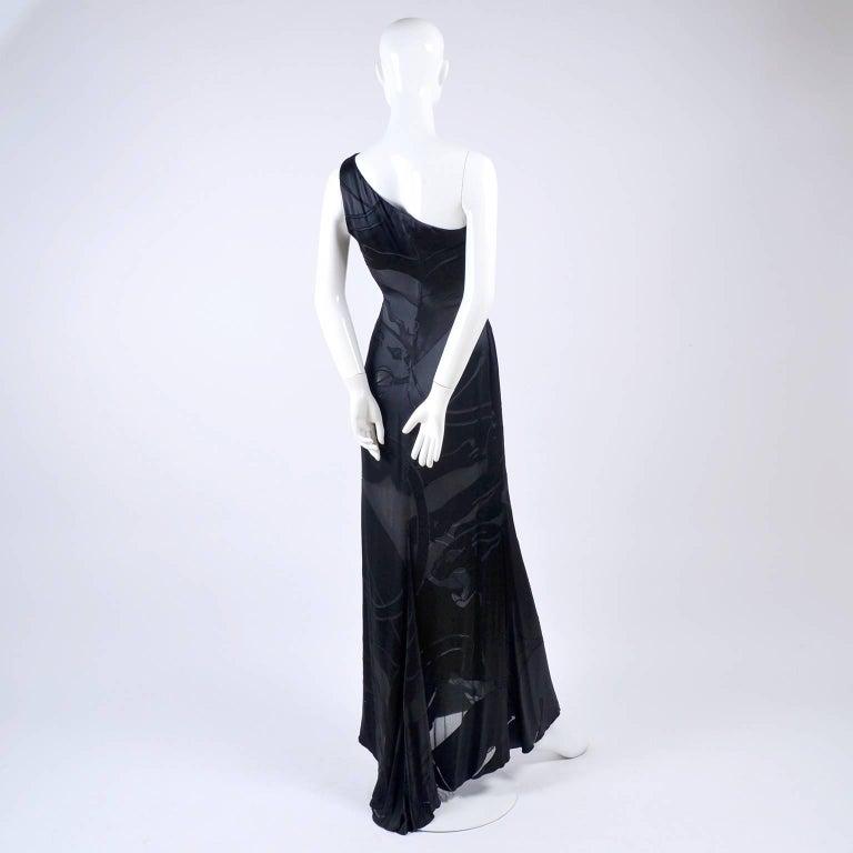 Valentino Black Panther Burnout Silk Jacquard One Shoulder Dress, 1990s For Sale 5