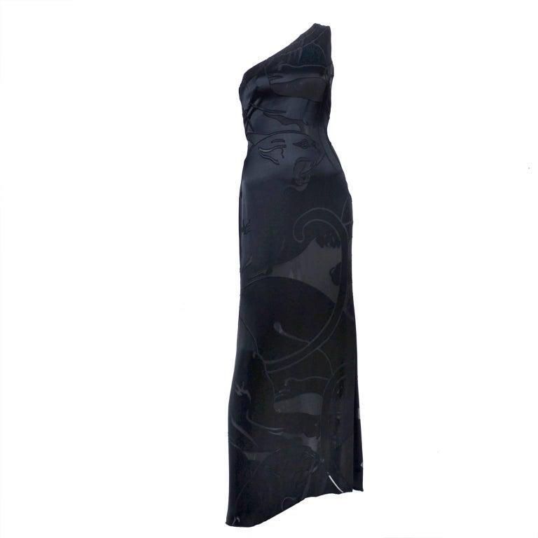 Valentino Black Panther Burnout Silk Jacquard One Shoulder Dress, 1990s