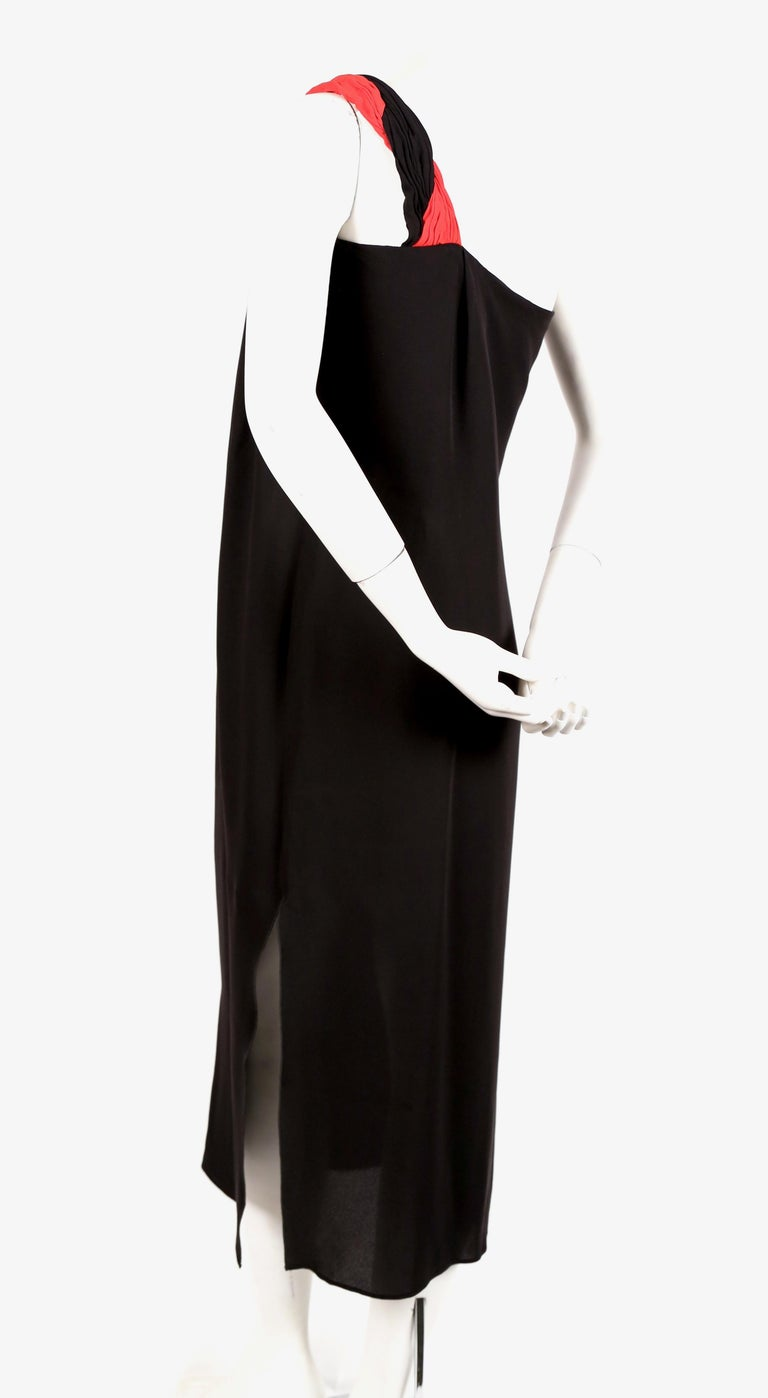 Black 1990's VALENTINO Grecian silk dress with red pleated single shoulder For Sale