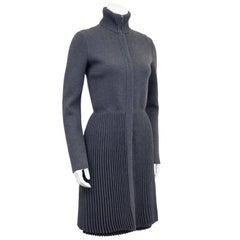 1990s Valentino Grey Micro Pleated Jacket and Dress Set