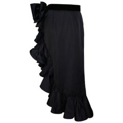 1990s Valentino Night Draped Asymmetric Skirt