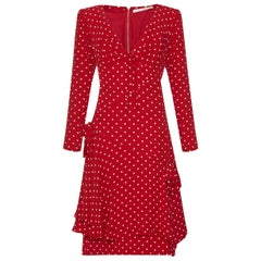1990s Valentino Silk Crepe Demi Couture Red Polka Dot Dress