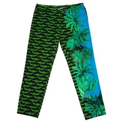 1990s Versace Alligator and Palm Tree Print Jeans