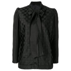 1990s Versace Black Designed Bow Blouse