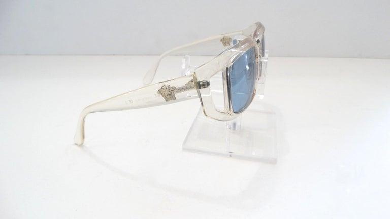Women's or Men's Versace 1990s Clear Rectangular Frame Sunglasses For Sale