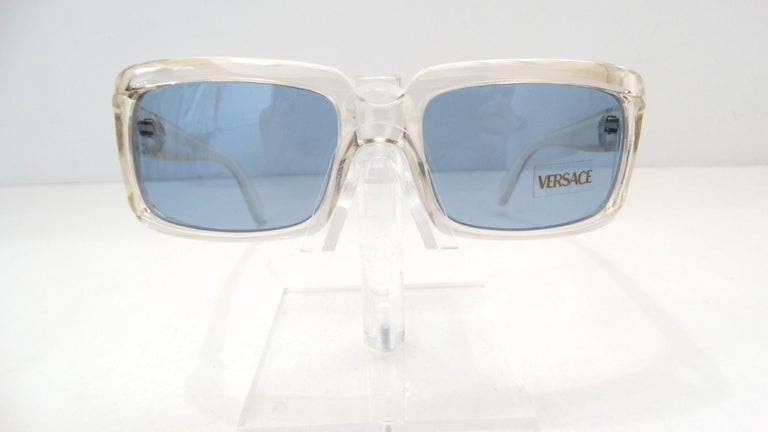 Versace 1990s Clear Rectangular Frame Sunglasses For Sale 3