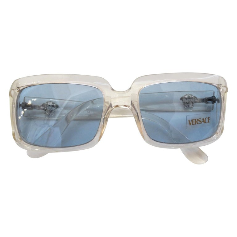 Versace 1990s Clear Rectangular Frame Sunglasses For Sale