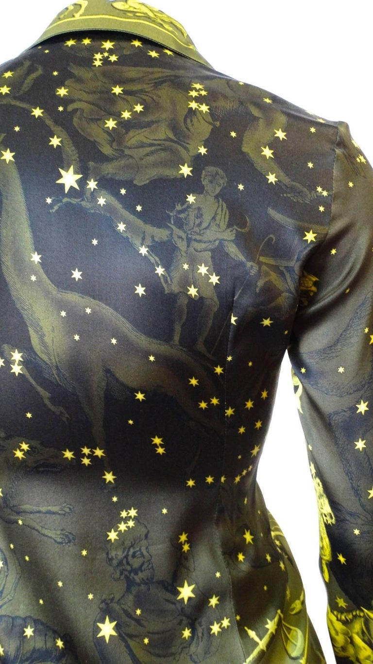 1990s Versace Constellation Button Up Blouse For Sale 7