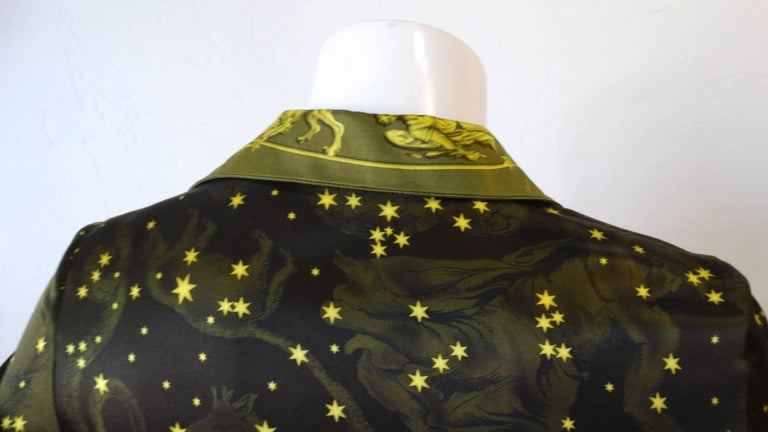 1990s Versace Constellation Button Up Blouse For Sale 10