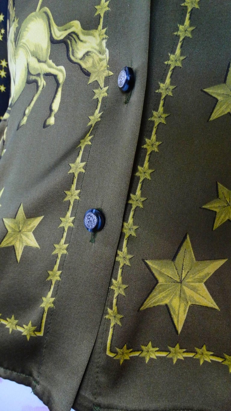 1990s Versace Constellation Button Up Blouse For Sale 13