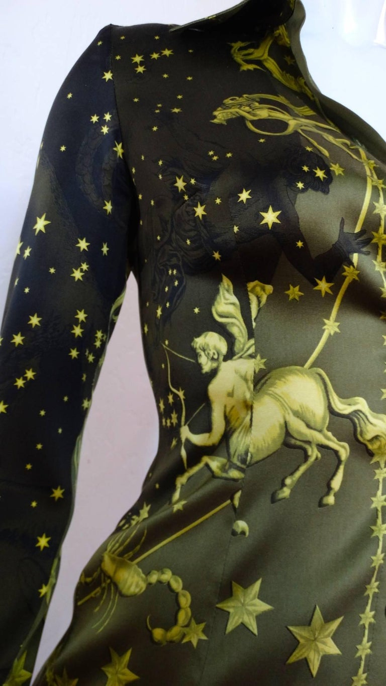 1990s Versace Constellation Button Up Blouse For Sale 14