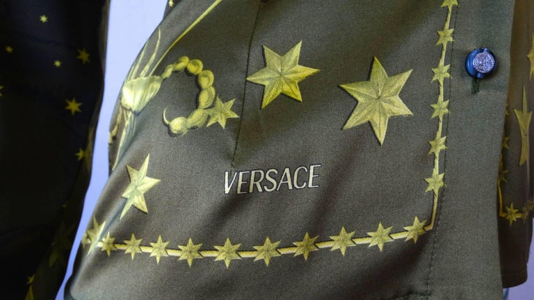 Women's 1990s Versace Constellation Button Up Blouse For Sale