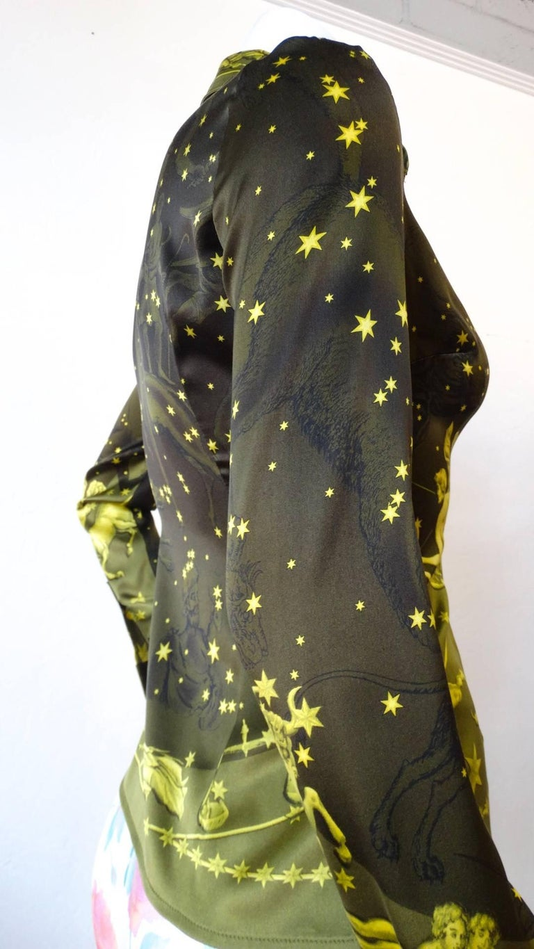 1990s Versace Constellation Button Up Blouse For Sale 2