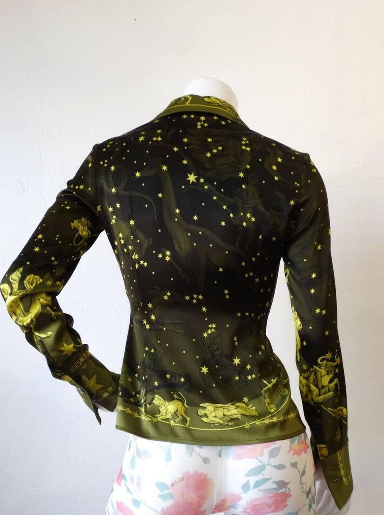 1990s Versace Constellation Button Up Blouse For Sale 3