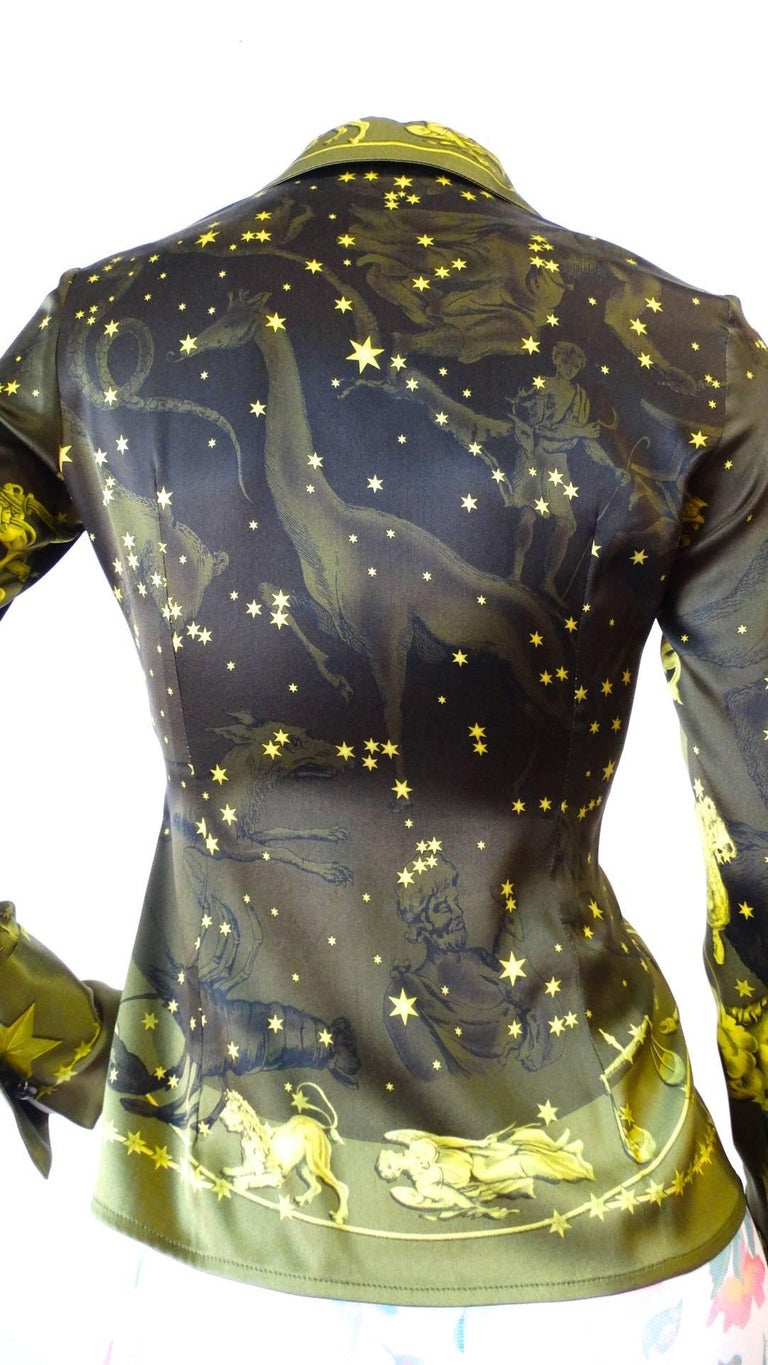1990s Versace Constellation Button Up Blouse For Sale 4
