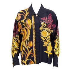 1990s Versace Couture Black Silk Blouse with Gold and Maroon Botanical Print