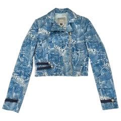1990s Versace Couture blue denim print cropped bolero jacket