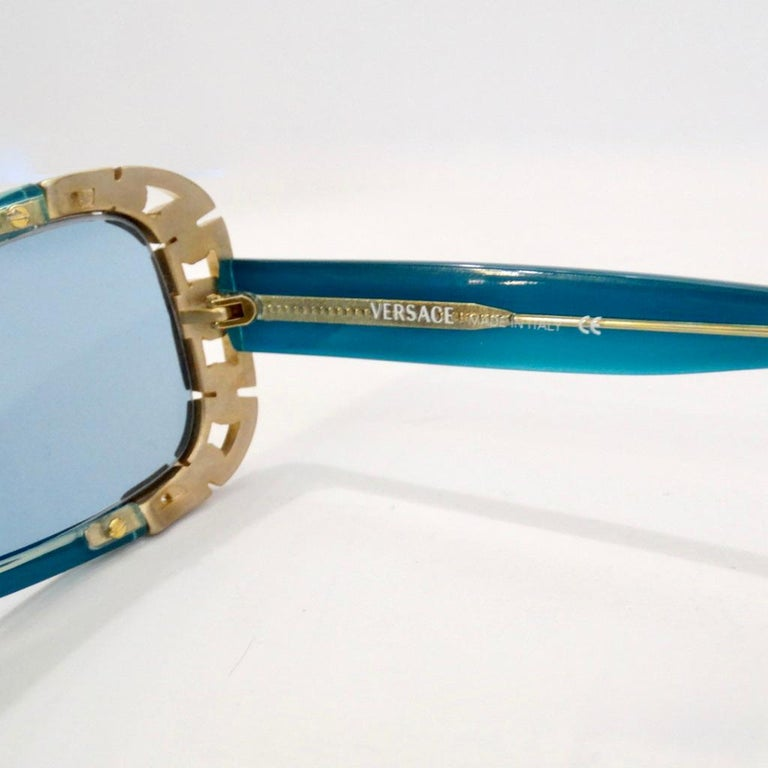 Blue 1990s Versace Dead Stock Chain Link Trim Sunglasses  For Sale