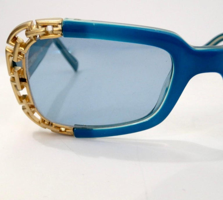 Women's or Men's 1990s Versace Dead Stock Chain Link Trim Sunglasses  For Sale