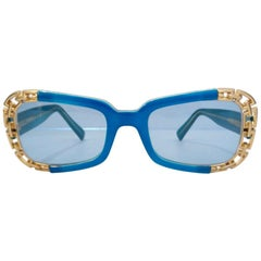 Versace 1990s Dead Stock Chain Link Trim Sunglasses