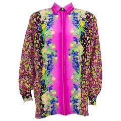 1990s Versace GV Versatile Couture Floral Silk Blouse