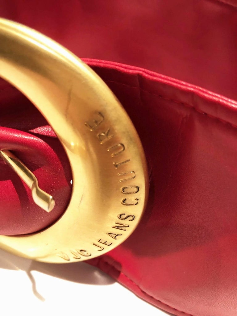 Women's or Men's 1990s Versace Jeans Couture Red Leather Gold Buckle High Waist Belt For Sale