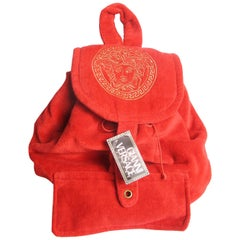 1990s Versace Large Terry Medusa Backpack with tags