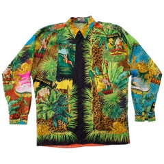 1990S GIANNI VERSACE Tropical Silk Leopard Tarzan Print Men's Shirt Sz 48