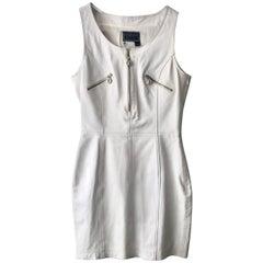 1990s Versace medusa white leather short dress