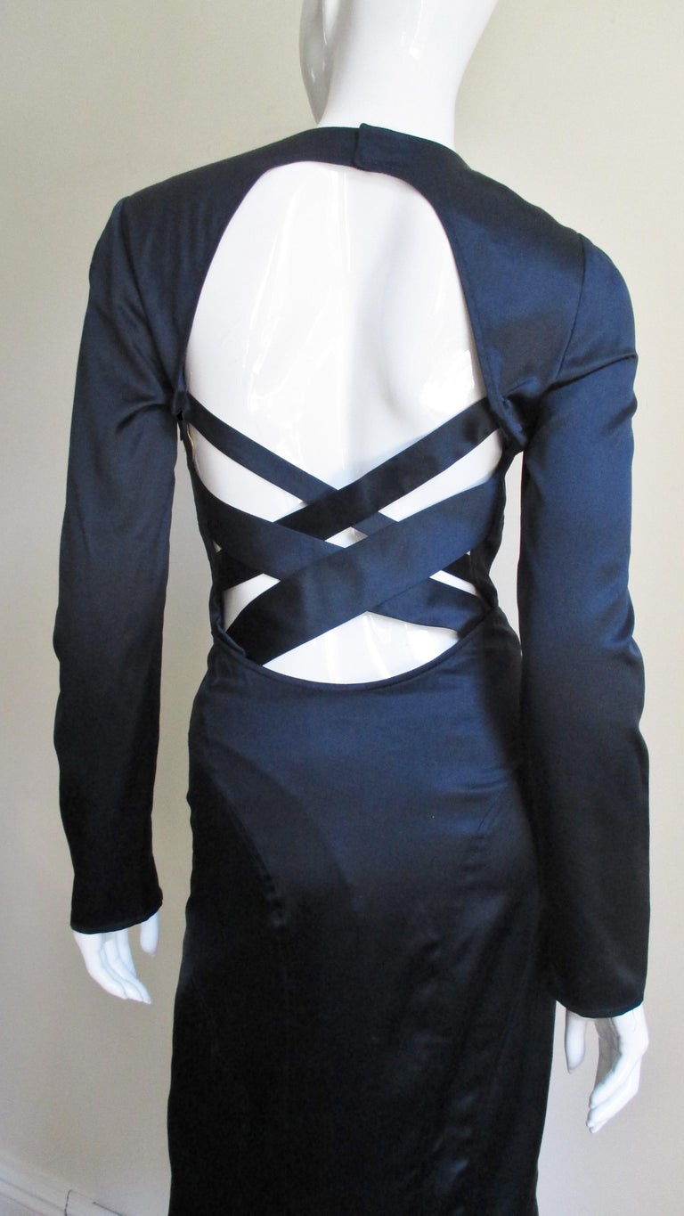 Versace Navy Silk Dress with Cut Out Back 1990s For Sale 5