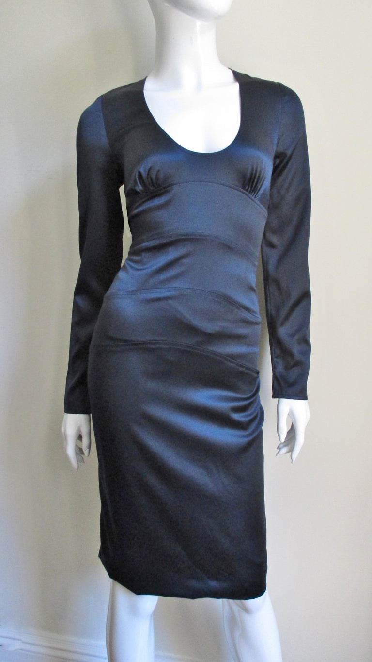 Versace Navy Silk Dress with Cut Out Back 1990s For Sale 2