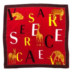 1990s Versace Red Exotic Animal Print Cotton Scarf