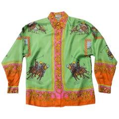 1990s Versace Sport Silk Polo Shirt