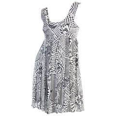 1990s Versus black and white silk baby doll dress